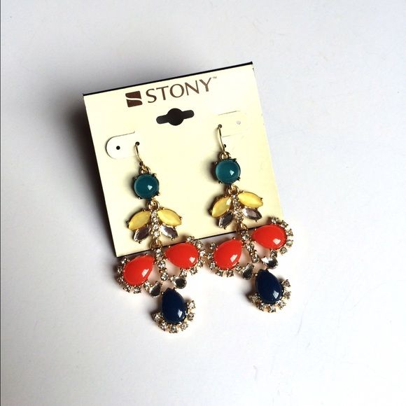 NWT Jeweled Drop Earrings Orange blue green and yellow jewel statement earrings on gold tone hook. No trades. Generous discount with bundle. Stony Jewelry Earrings