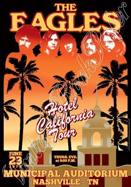 Eagles Hotel California Tour Vintage Music Posters Rock Band