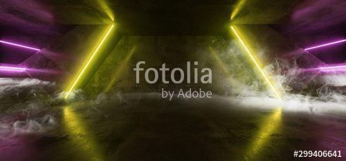Virtual Reality Cyber Smoke Fog Steam Corridor Tunnel With Neon Laser Light Lines GLowing Yellow Purple On Concrete Grunge Floor Alien Sci Fi Spaceship 3D Rendering