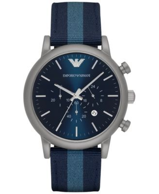 e6b08e168 Emporio Armani Men's Chronograph Luigi Blue Leather Backed Nylon Strap Watch  46mm AR1949