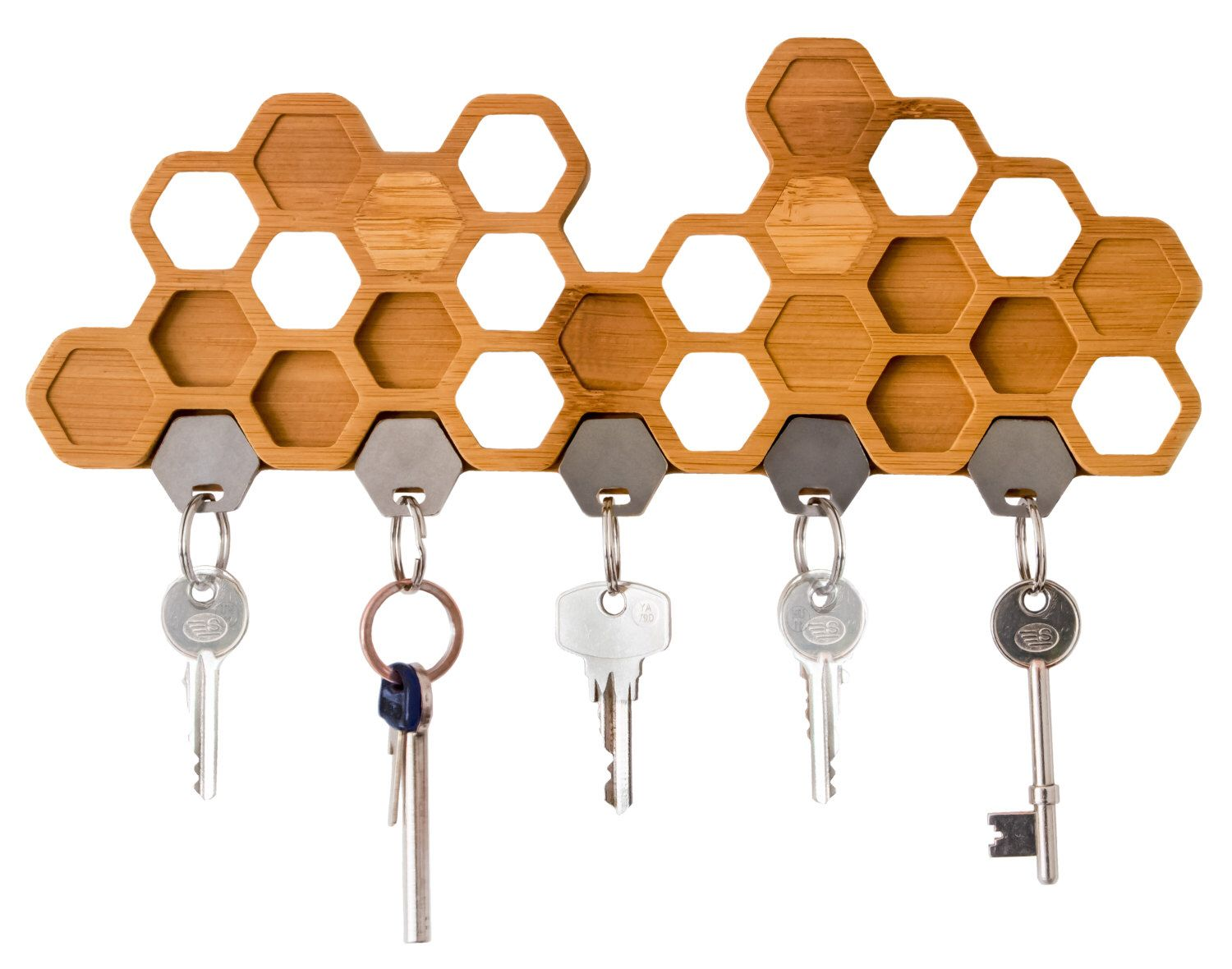 Delightful Honeycomb Magnetic Key Holder   A Unique Bamboo Wall Mounted And Decorative  Wooden Storage Rack By