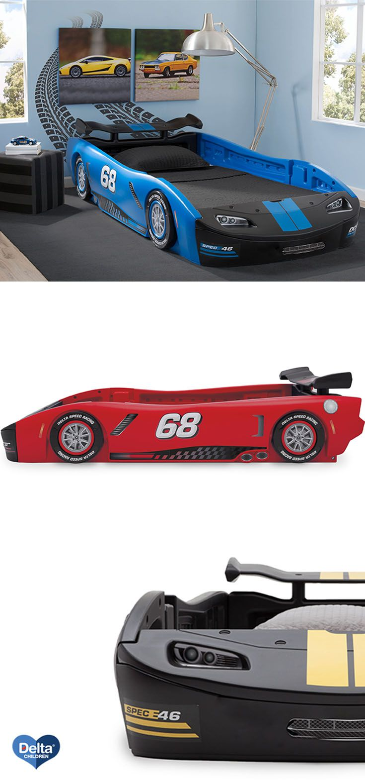 sweet dreams are just around the corner with the turbo race car twin bed from delta