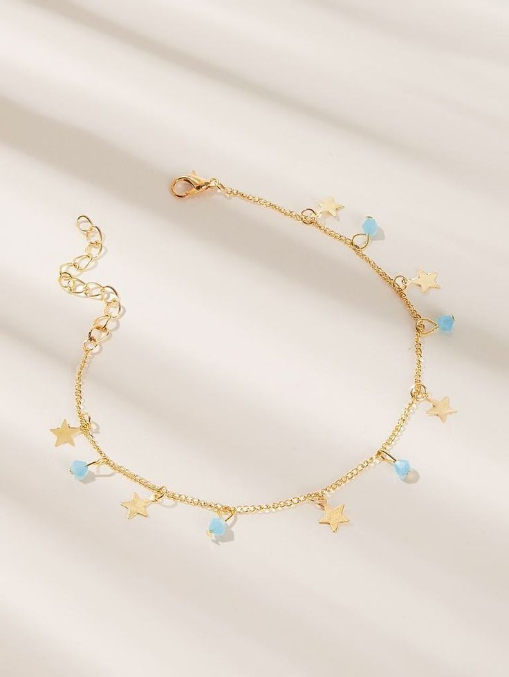 Photo of Golden Bead & Star Charm Chain Anklet For Casual Wear 1pc