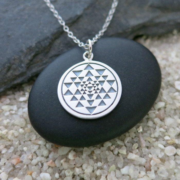 Sri Yantra Necklace, Sterling Silver Sri Yantra Charm