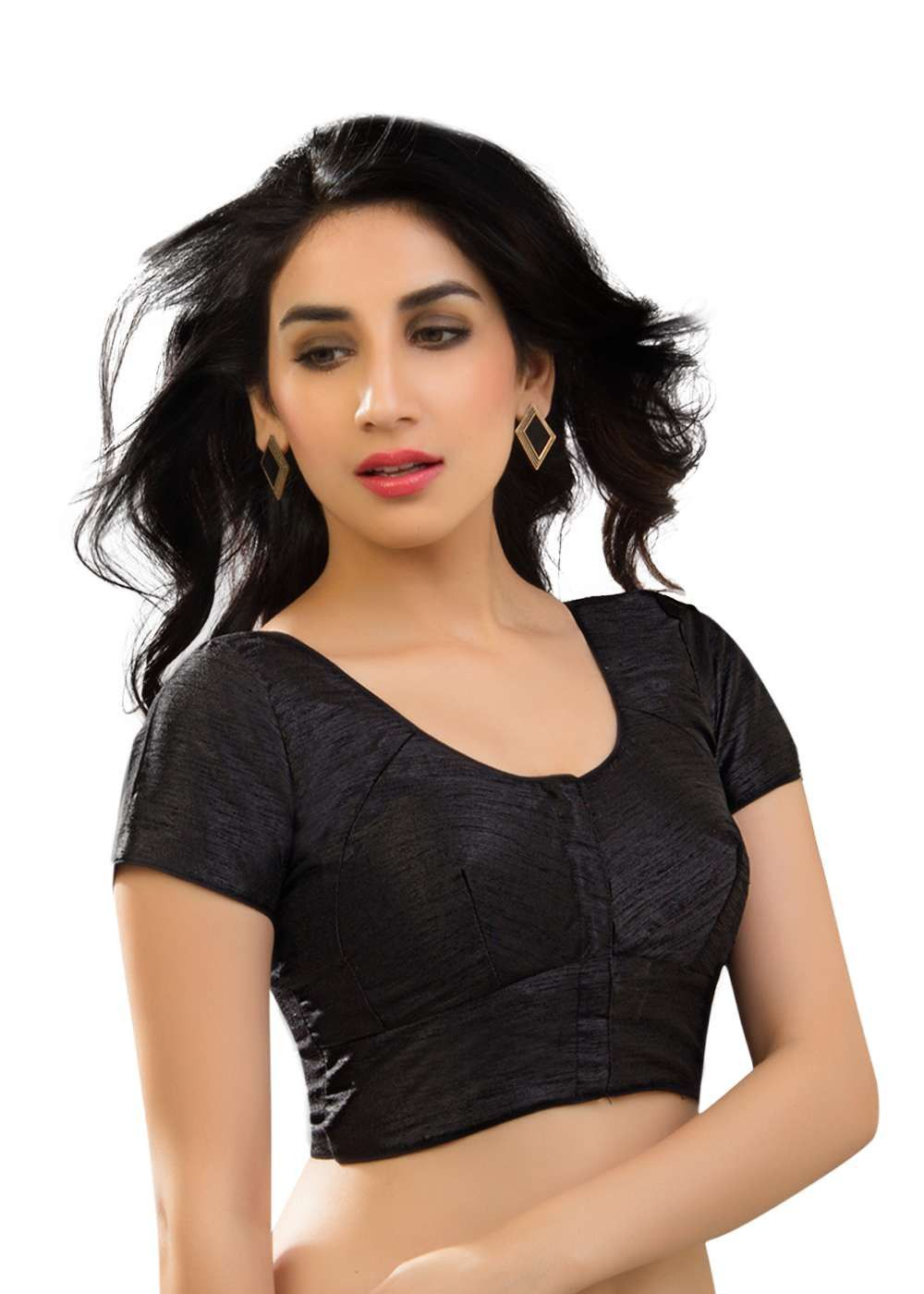 a9a0eff9bb7c95 Designer Dupian Silk Katori Style Black Sari Blouse SNT-KT-1-SL ...