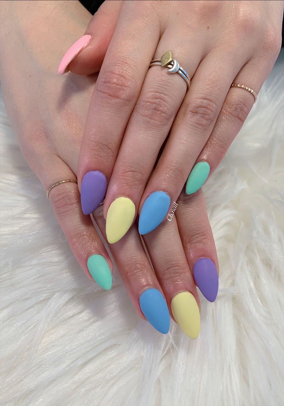 Spring Nails Easter Nails Acrylic Nails Matte Nails Pastel Nails Almond Nails Pink Nails Green Nails Yellow Nai Cute Pink Nails Easter Nails Blue Nails