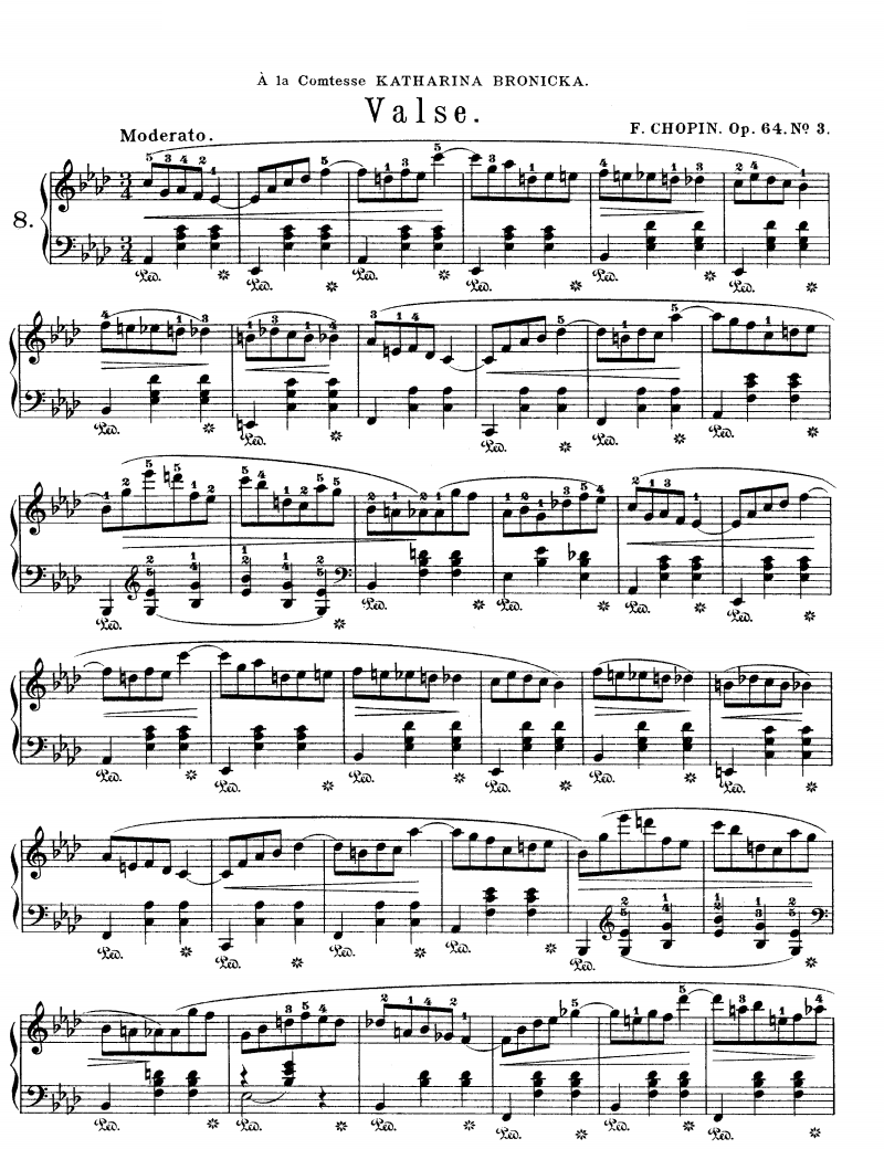 Waltz No 3 In A Flat Major Op 64 Free Sheet Music Piano Music Piano Sheet Music Music Book