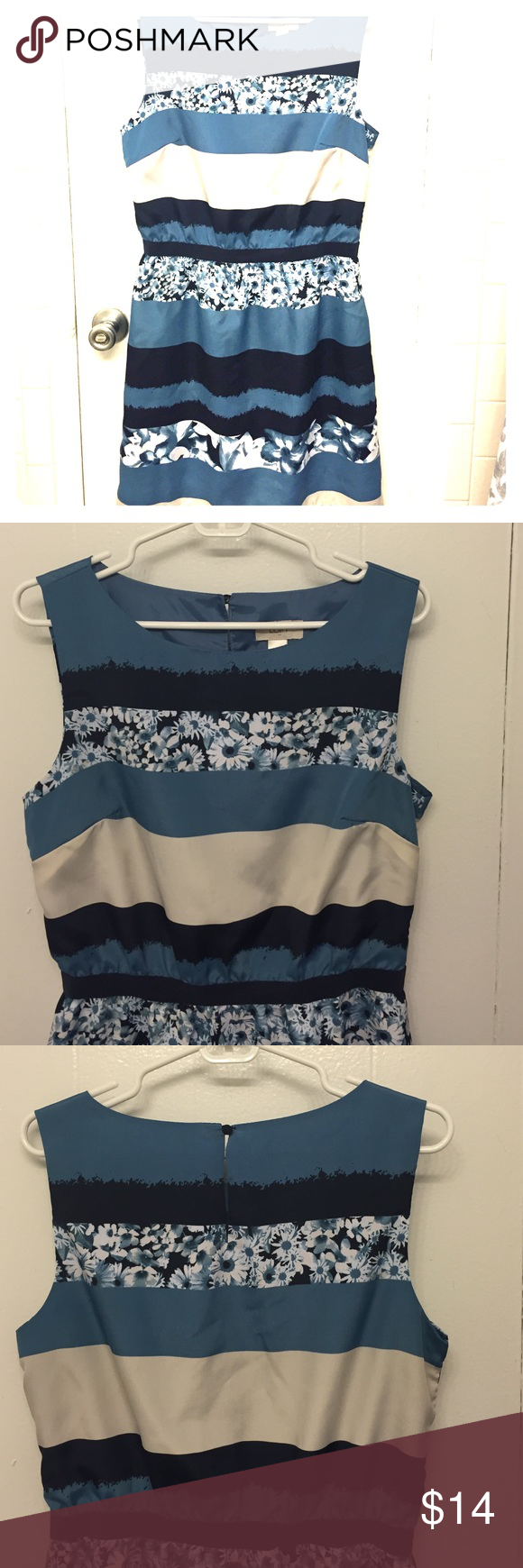 Loft blue floral dress Absolutely adorable but too big on me; true to size. Floral and stripes, blues and cream. Fully lined. LOFT Dresses