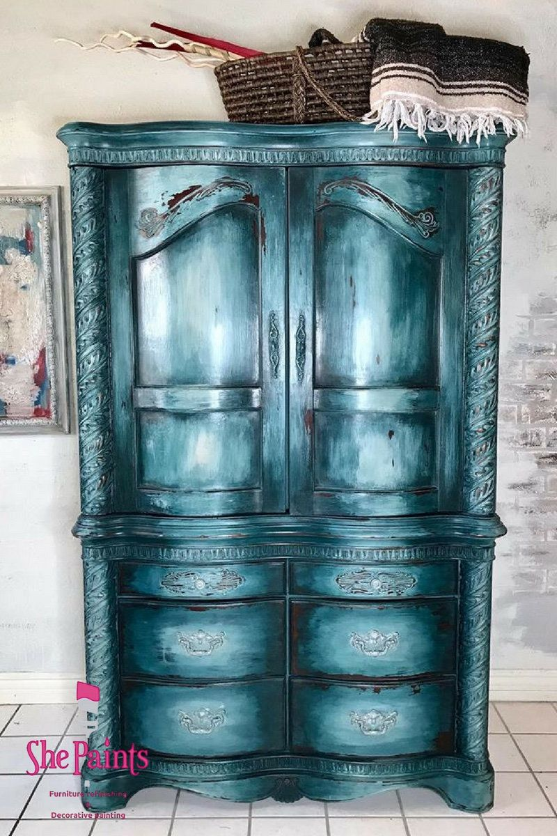 Boho Chic Armoire Distressed Gorgeous Deep Teal