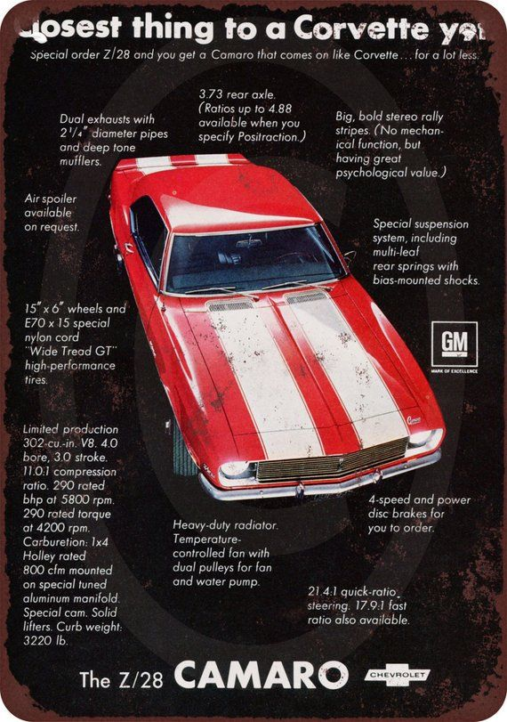 1968 Chevrolet Camaro Z28 Vintage Look Reproduction Metal Sign 8 x 12 made USA