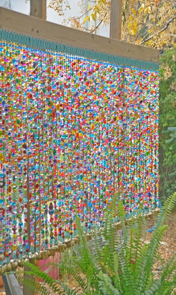 Colorful Beaded curtain-100 Beaded Strings Unique Sun | Etsy