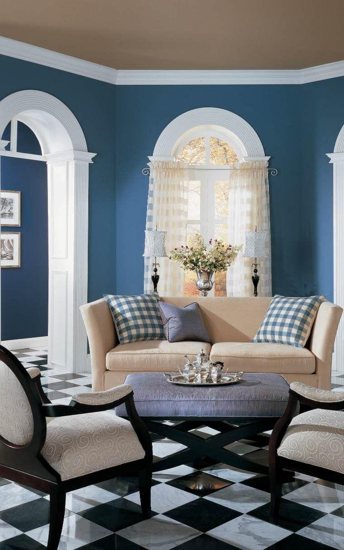 Carrelage noir et blanc : 17 idées originales  Blue walls living