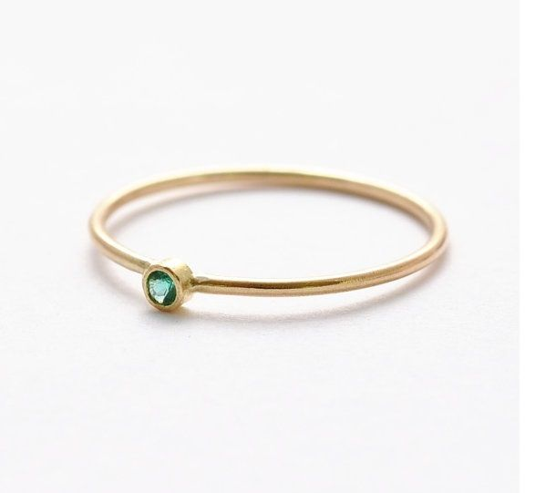 14k yellow gold slim engagement ring with small emerald stone solitaire engagement band - Small Wedding Rings