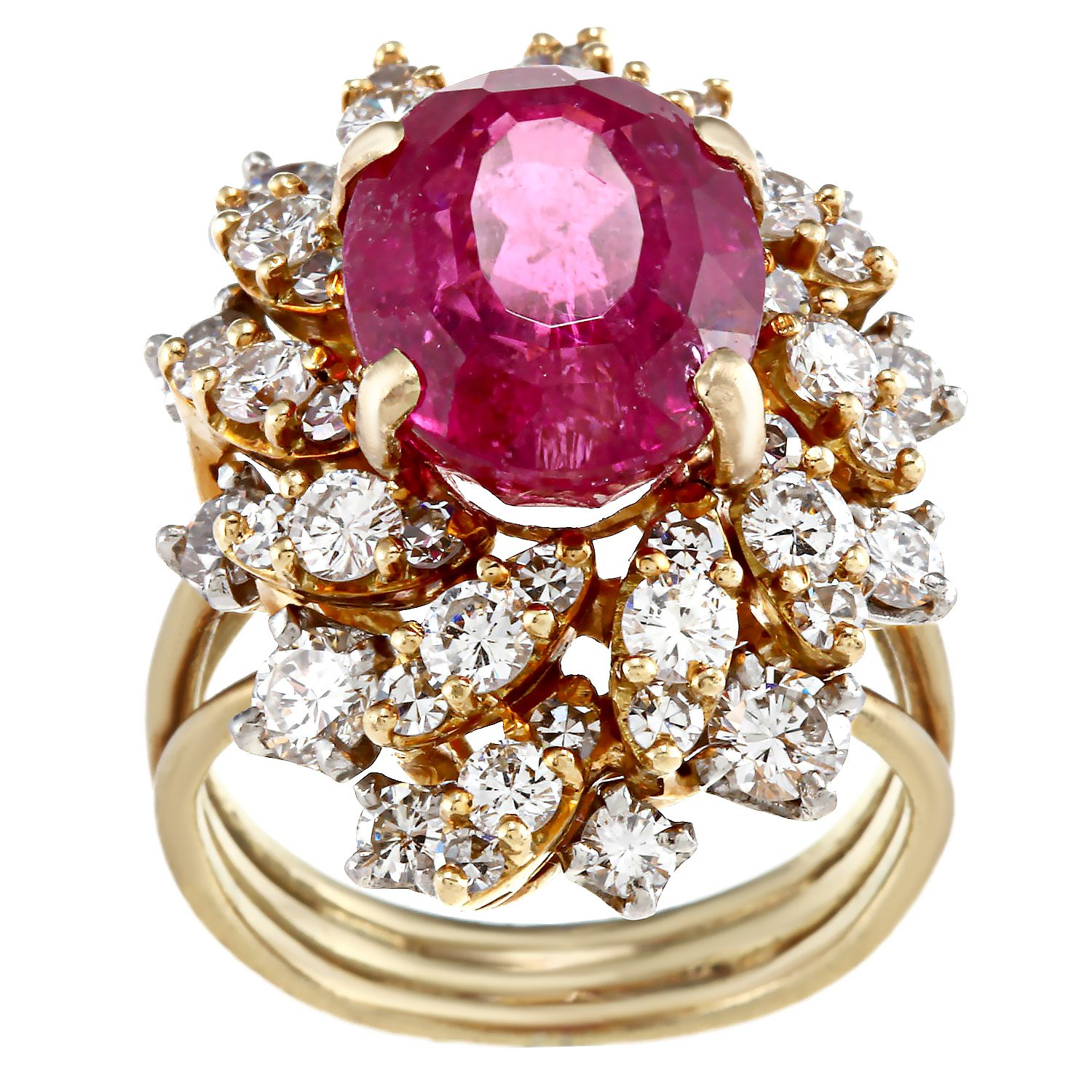 Pre-owned 18k Rubalite and 4/5ct TDW Diamond Estate Ring