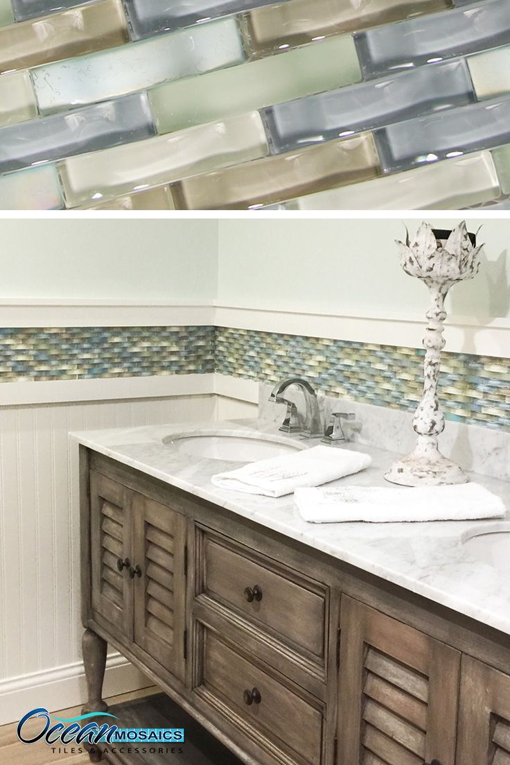 Our client used this backsplash tile as a chair rail border | Ripple ...