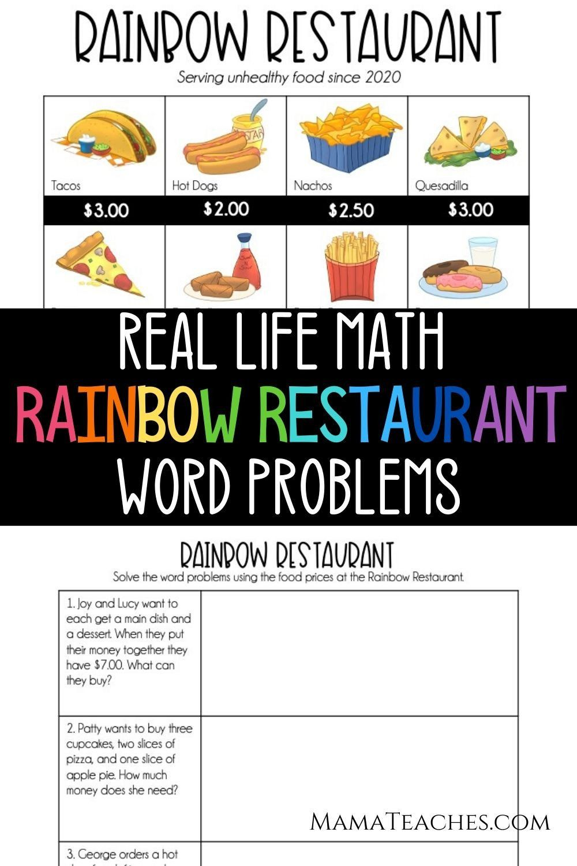 Restaurant Math Worksheets Real Life Math Rainbow Restaurant Mama Teaches In 2020 Real Life Math Free Printable Math Worksheets Math Fact Worksheets [ 1500 x 1000 Pixel ]