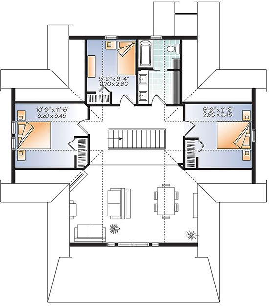House Plan 034 01079 Lake Front Plan 2 105 Square Feet 4 Bedrooms 3 Bathrooms House Plans Cottage House Plans House Floor Plans
