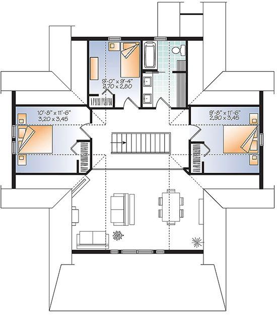 House Plan 034 01079 Lake Front Plan 2 105 Square Feet 4 Bedrooms 3 Bathrooms House Plans Cottage House Plans House Floor Plans