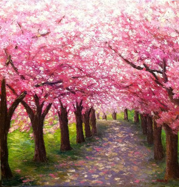 Cherry blossom path original oil painting painting for Canvas painting of cherry blossoms