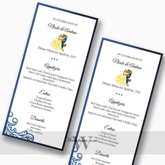 Beauty And The Beast Wedding Menus For Reception Disney Weddings Set Of 10
