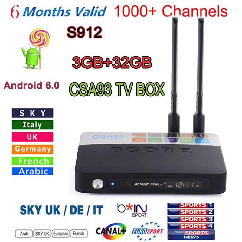 New CSA93 Android 6 0 TV BOX S912 2/16G 3/32GB Smart tv 6