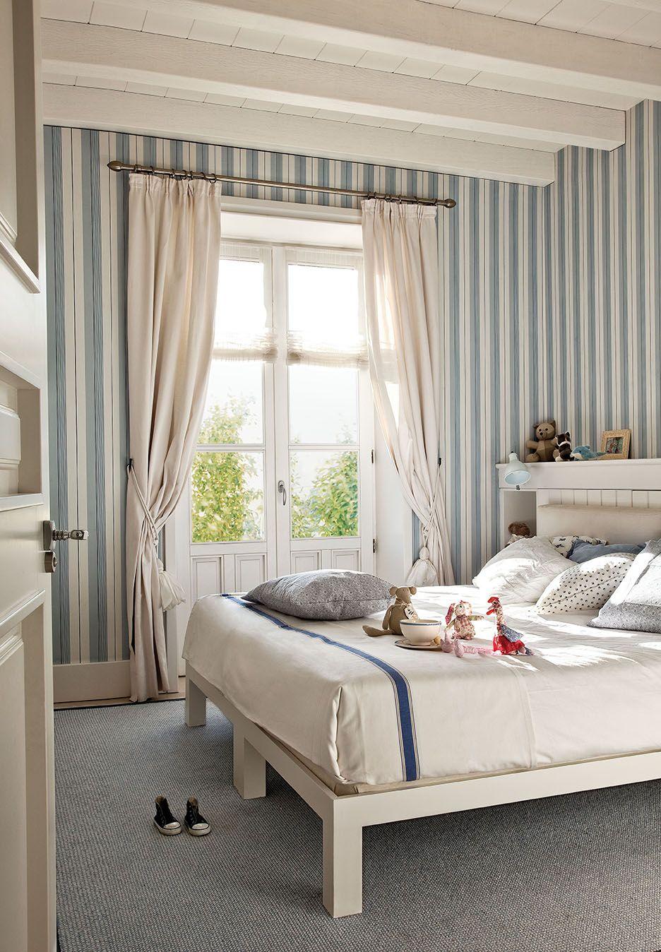 Dormitorio infantil deco papel pintado rayas for Dormitorios pintados en gris