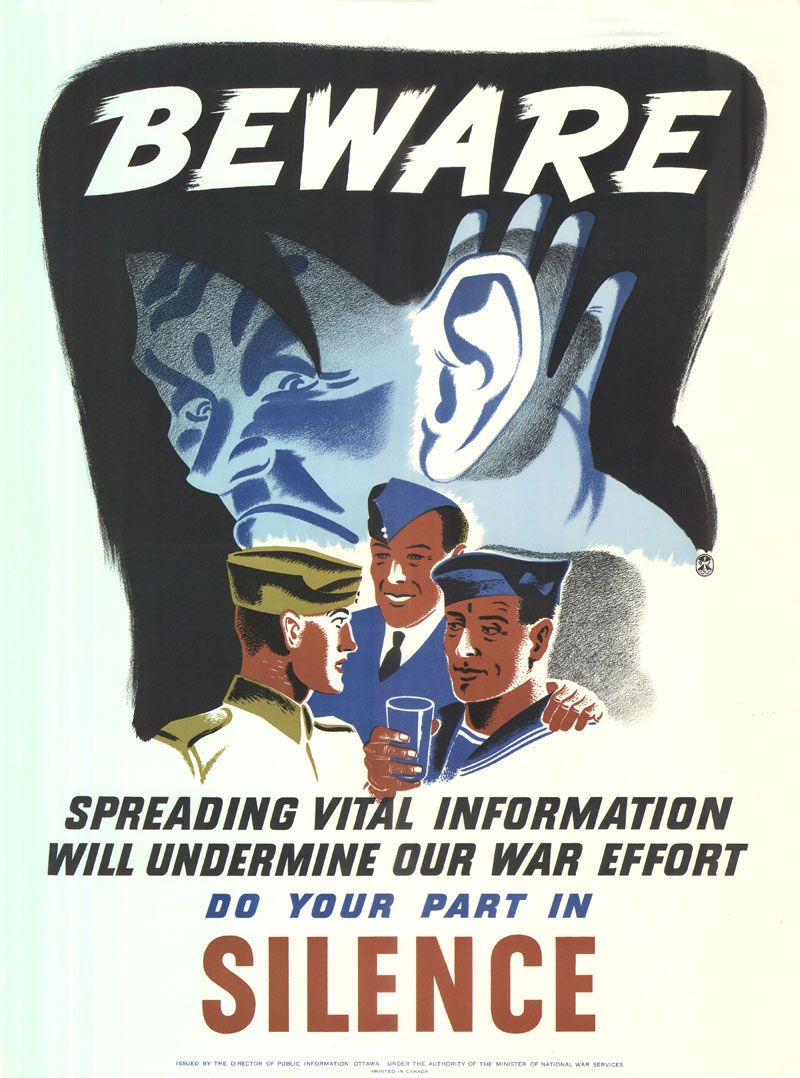 Beware Do Your Part In Silence (Canada) Wwii