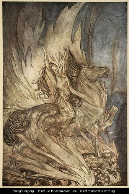 Brunnhilde on Grane leaps on to the funeral pyre of Siegfried, illustration from Siegfried and the Twilight of the Gods, 1924  by Arthur Rackham