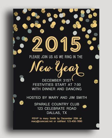 Shining Polka Dot New Years Eve Printable Invitation Card For 2015 New Years Celeti New Years Eve Invitations Party Invite Template Printable Invitation Card