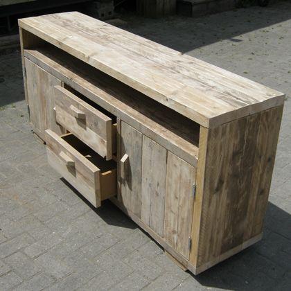 Steigerhout tv meubel 39 felm 39 robuust landelijk en for Steigerhout tv meubel maken