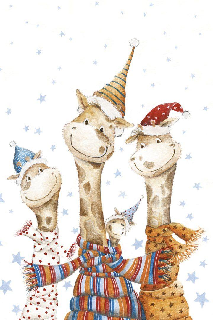 Картинки новогодние животные рисованные