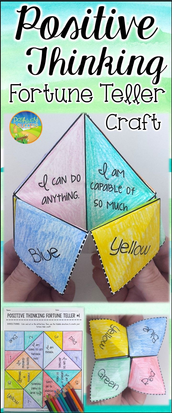 Positive thinking fortune teller craft paper fortune teller use this paper fortune teller craft to teach and practice positive thinking skills and positive self jeuxipadfo Gallery