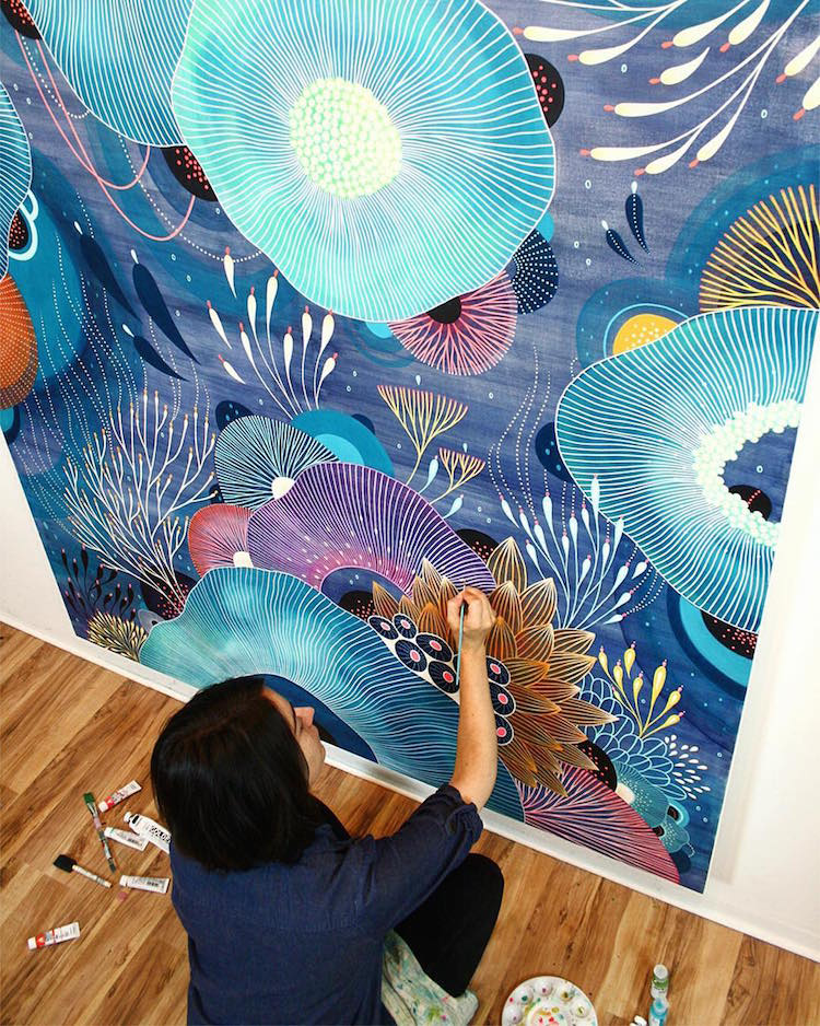 Artist Paints Biomorphic Universes Bursting with Colorful Flora and Fauna