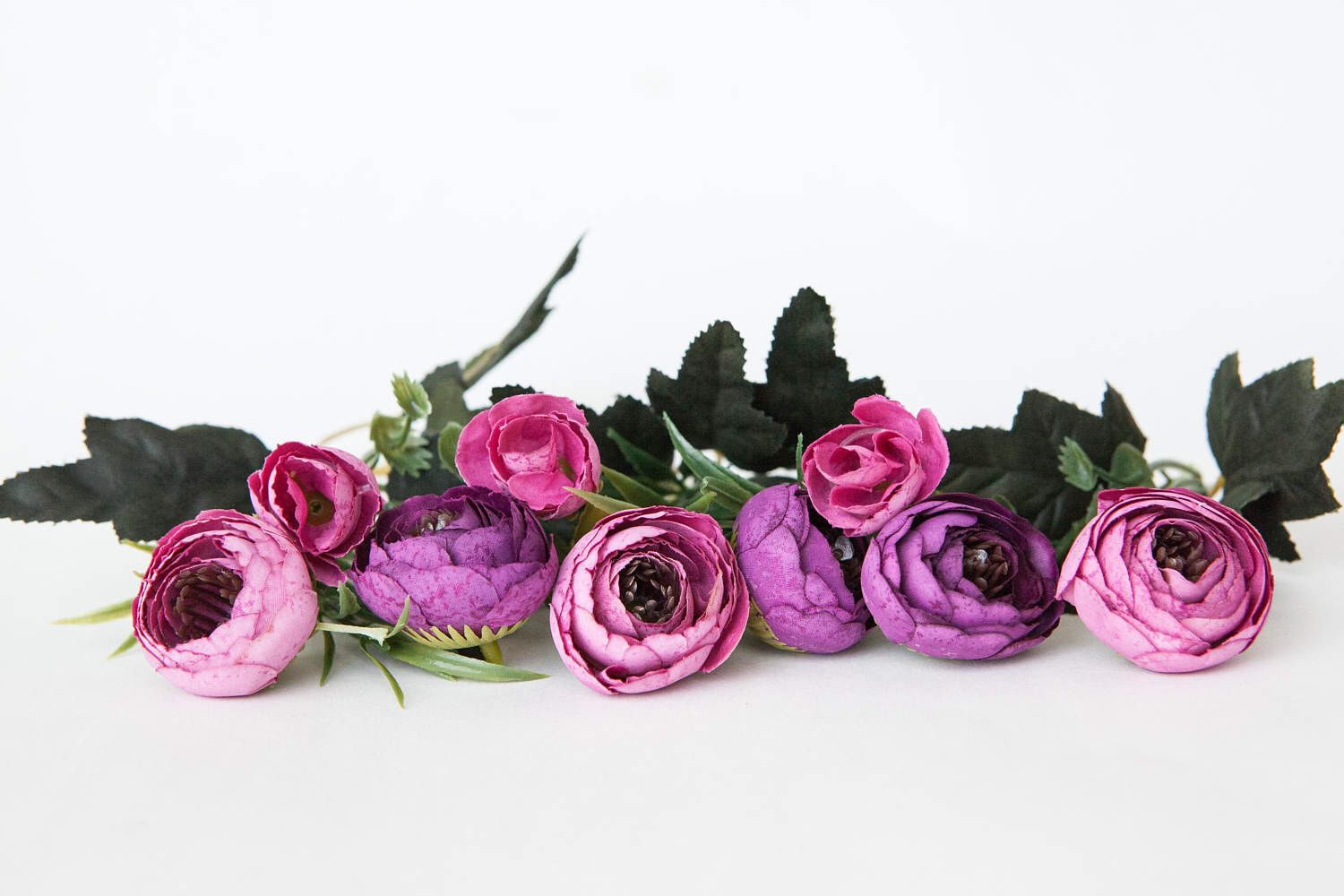 9 Small Mini Vintage Inspired Ranunculus Buds In Bright Pink And