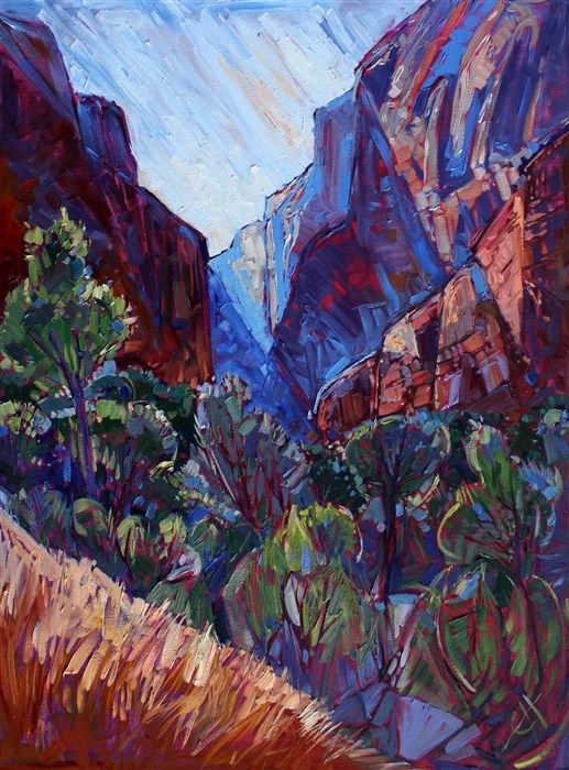 Kolob Canyon expressionist oil painting landscape by Erin Hanson