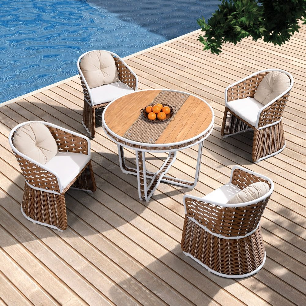 If a smaller dining table is what you are after then this is the one for you.The luxury style table and chairs will add a natural premium look to your garden. Higold uses Rattan, which is a fantastic weatherproof and maintenance free material which can be left outside all year round. If you want to clean it, you can simply wash the surface dirt off with a hose pipe. As well as easy cleaning it is also UV light resistant which means the set will keep its colour and won't fade in the sunlight…