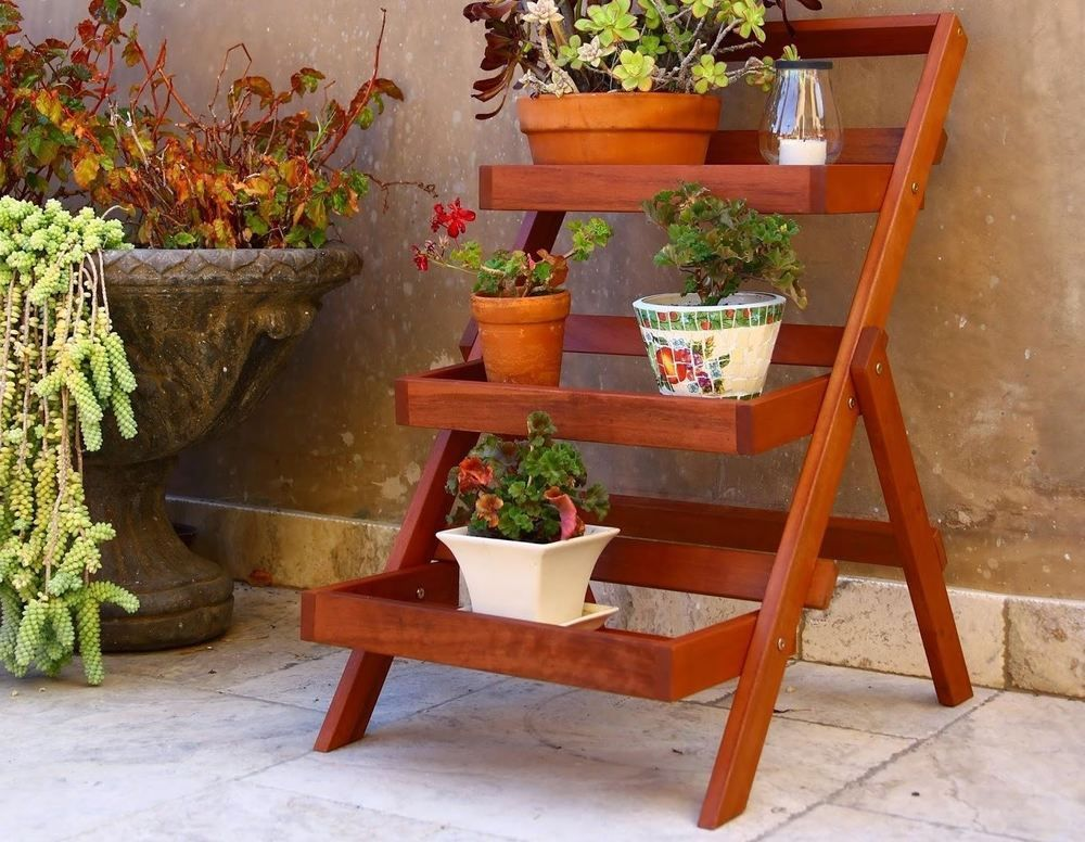 Teak Plant Stand Stands For Multiple Plants 3 Tier Wood Planter Garden Outdoor Vifah Plant Stand Wood Plant Stand Plant Stands Outdoor