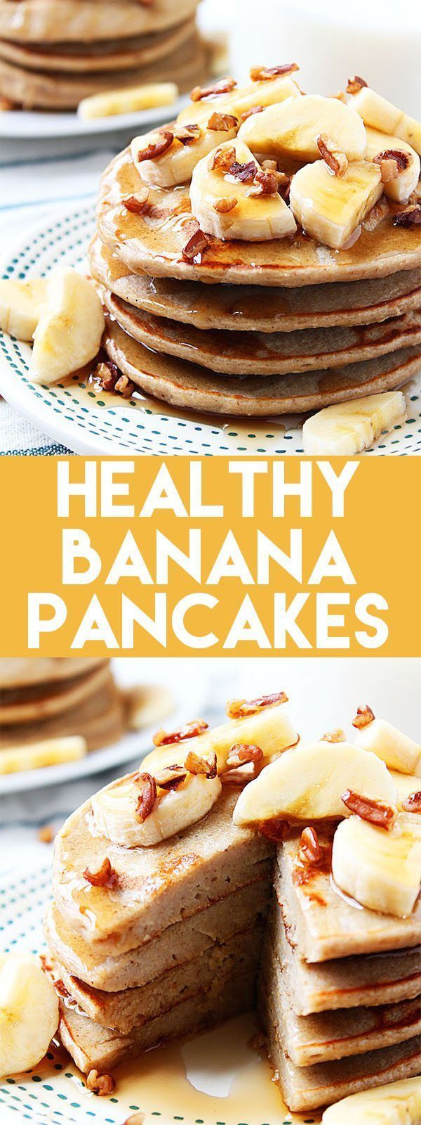Healthy Banana Pancakes are a delicious, low calorie breakfast!These Healthy Banana Pancakes are a delicious, low calorie breakfast!