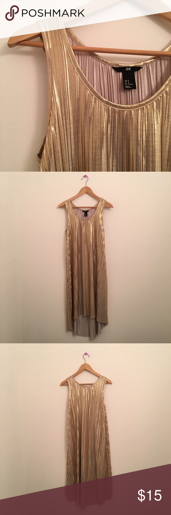 ca279444dd Selling this H & M Shiny Gold Pleated Dress Sz. M on Poshmark! My username  is: thegarbmovement. #shopmycloset #poshmark #fashion #shopping #style  #forsale ...