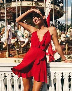 e45ffdda6f Red sleeveless ruffled wrap dress Street style
