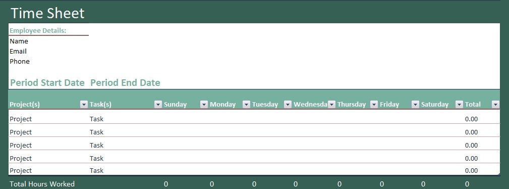 Download Free Timesheet Template ExcelPerks Excel Templates
