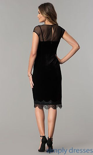1f7aafc93383 Shop short black velvet cocktail dresses at Simply Dresses. Midi-length semi -formal dresses under  100 with illusion necklines and cap sleeves.