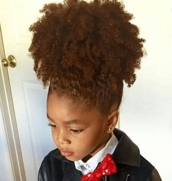 Kinky Curly Ponytail Human Hair For Kids Afro Natural Puff Hair