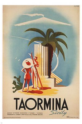 Taormina Sicily VINTAGE TRAVEL POSTER Mario Puppo ITALY 1952 24X36 LOVELY! Brand New. 24x36 inches. Will ship in a tube. - Multiple item purchases are combined the next day and get a discount for dome