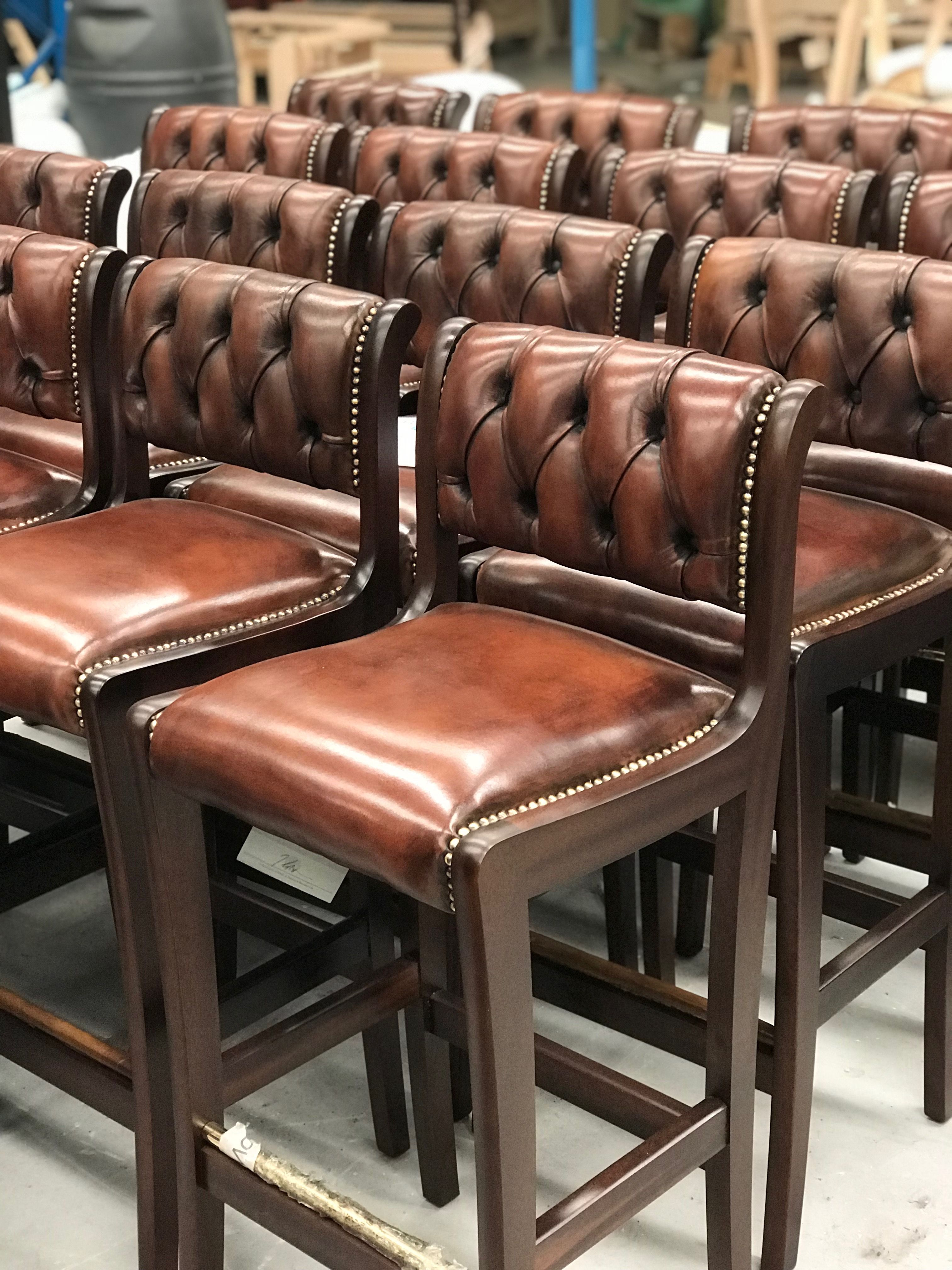Regency Bar Stools In Hand Coloured Brown Leather Dark Oak Wood Stain And Individual Brass Studs Fleminghow Rustic Bar Stools Leather Bar Leather Bar Stools
