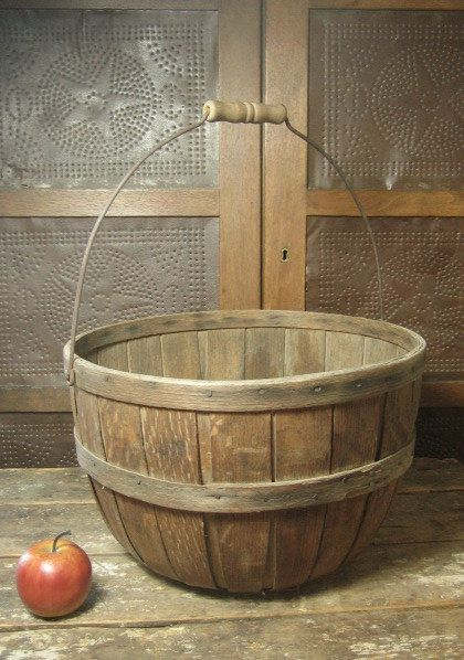 Gorgeous Antique Large Wooden Apple Basket from Maine – Wooden Bottom  $188