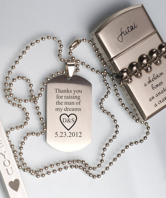 Personalized Pendant Necklace Engraved Dog Tag Gift Box Heart