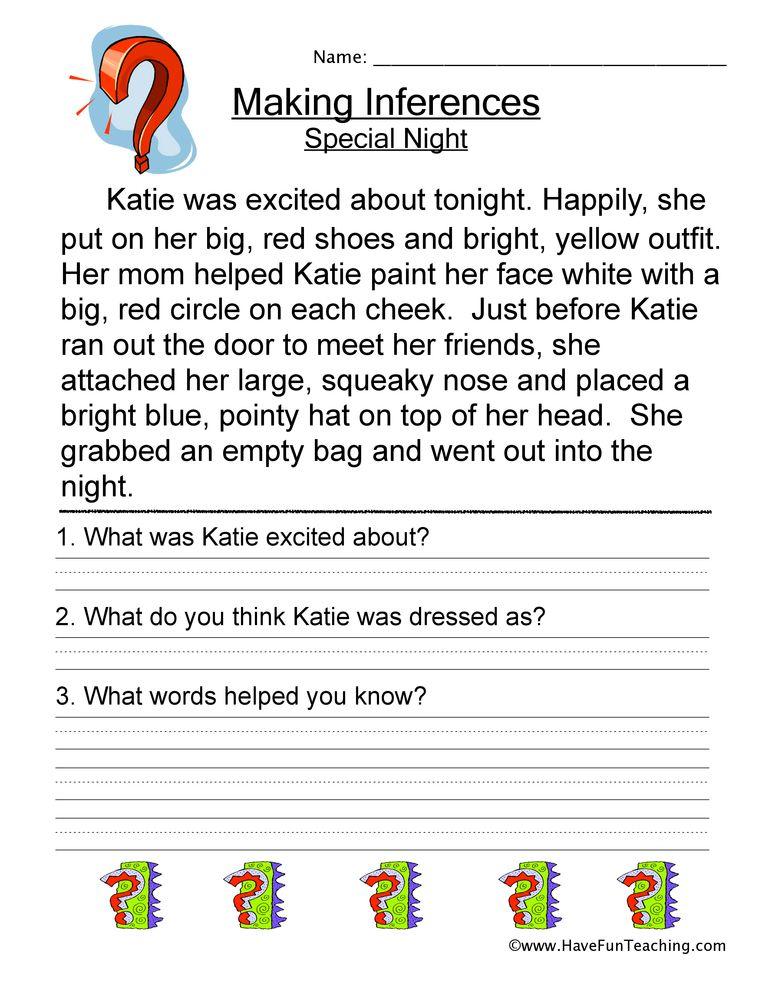 Making Inferences Special Night Worksheet Have Fun Teaching Making Inferences Worksheet Inference Worksheets Making Inferences Making inferences worksheet 4th grade