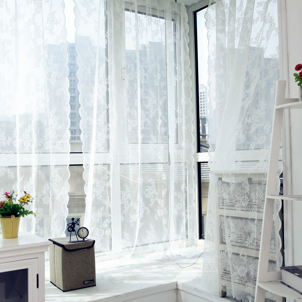 Garden window coverings   aud  window curtain leaf floral panel sheer drapes voile