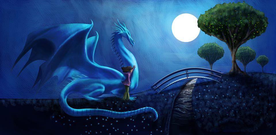 A Girl And Her Western Dragon Raum Illustration Drachen Vollmond